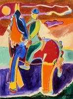 Quadro di Luciano Schifano - Cavaliere olio tela